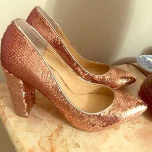 Jewel Badgley Mischa pink sequin heels! New!
